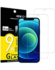 """NEW'C 2 Pezzi, Vetro Temperato Compatibile con iPhone 12/12 Pro (6.1""""), Pellicola Prottetiva Anti Graffio, Anti-Impronte, Durezza 9H, 0,33mm Ultra Trasparente, Ultra Resistente"""