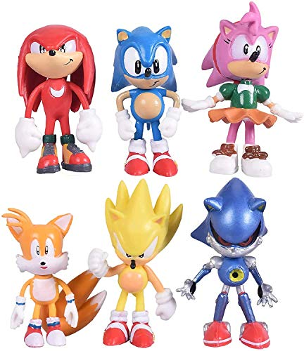 Sonic the Hedgehog Action Figures Cake Toppers, Sonic Figurines Collection Play set , Children Mini Toys Cupcake Toppers for Birthday Party Supplies Set of 6pcs