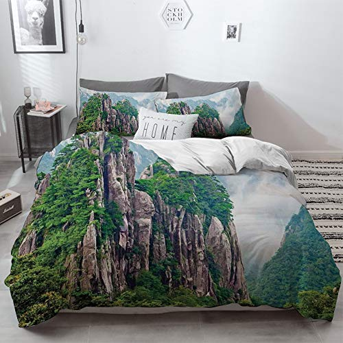 3 Piece Duvet Cover Set No Wrinkle Ultra Soft Bedding Set,Apartment Decor,Sacred Majestic Slim Mountains Rocks in Clouds South Asian Chinese Natu,2 pillowcase 50 x 75cm 1 Pc Bed sheet 230 x 220cm