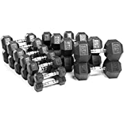 XMark 150 Pound Set of Hex Dumbbells, Premium Quality, Rubber Coated with Chrome Contoured Handles