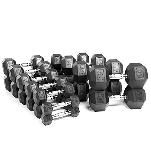XMark Hex Dumbbells, Rubber Coated, One 25 lb Pair and One 30 lb Pair