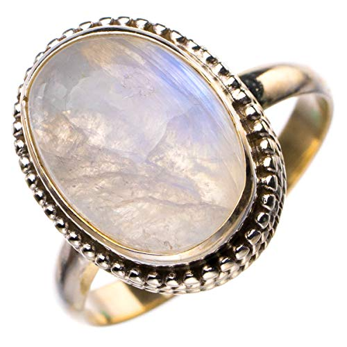 StarGems Anillo de plata de ley 925 hecho a mano con piedra lunar arcoíris natural P D5121