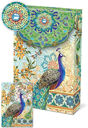 Punch Studio, Royal Peacocks, Decorative Pouch Note Cards, Set of 10