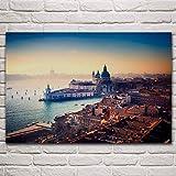 WSHIYI Venecia Italia Ciudad sobre el Agua Paisaje Urbano Paisaje Marino Sala de Estar hogar Arte de la Pared decoración Carteles 60x90 cm (23,6x35,4 Pulgadas) sin Marco