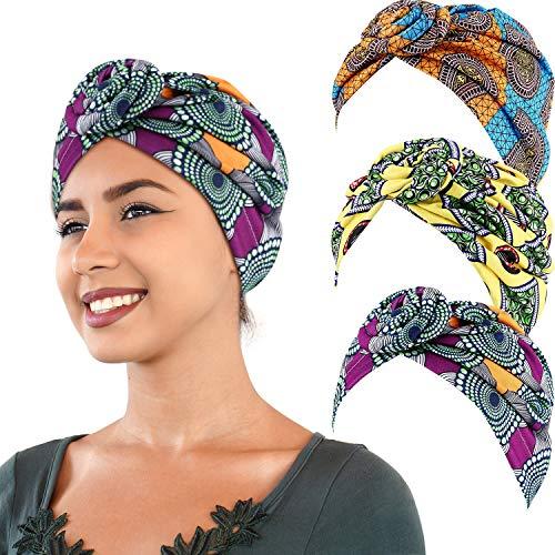 3 Pieces African Turban Head Wrap Scarf Boho Turban Elastic Knotted Beanie Cap yellow orange and green