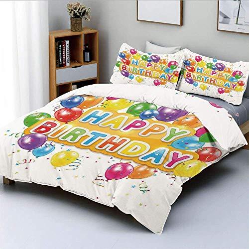 Juego de Funda nórdica, The Words Happy Birthday con Globos Vivos Confetti Rain Blithesome Juego de Cama Decorativo de 3 Piezas con 2 Fundas de Almohada, Multicolor, niños y Adult
