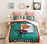 NOOS 3D Sports Basketball Duvet Cover Set 23 Basketball Star Basketball Bedding Set Queen Size,Students Teenagers 100% Polyester Boys Bed Set 3PC 1 Duvet Cover 2 Pillow Shams,No Comforter Inside