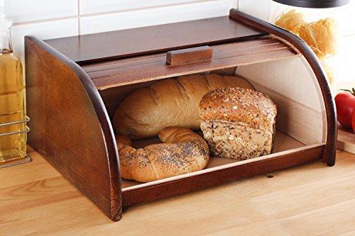 Houten Brood Bin met Roll Top of Drop Down Deur Box voor Opslag brood Keuken 24 soorten (Klein, Donker Bruin)