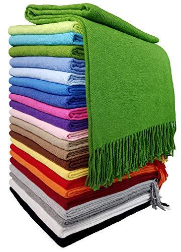 STTS International Baumwolldecke Wohndecke Kuscheldecke Tagesdecke 100prozent Baumwolle 130 x 170 cm sehr weiches Plaid Rio (Grün)