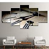 cxtnt Pintura de lienzo Reloj clásico retro 5 piezas Pintura de arte de pared Fondos de pantalla modulares Impresión de póster para sala de estar Decoración del hogar