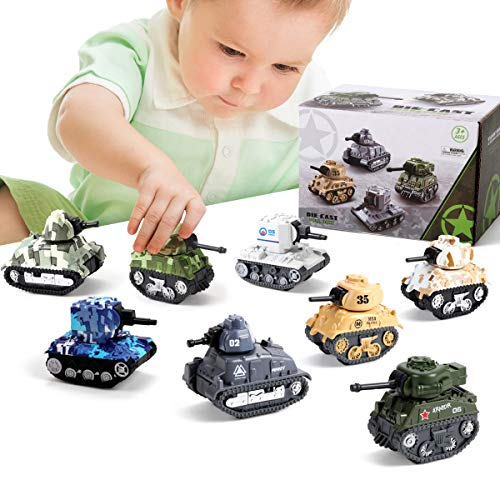 Pull Back Diecast Military Vehicles, 8 Army Tanks Toys for Boys and 3 Soldier Army Men Toy, Metal Diecast Military Vehicle Toys Army Men Tank Pull Back Truck Car Play Set for Kids Toddlers