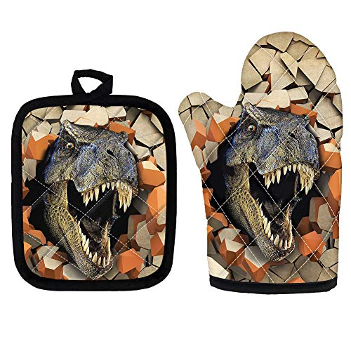 Woisttop T-rex Dinosaur Pattern Oven Mitts and Pot Holders Set of 2 Heat Resistant Microwave Cooking Baking Mitten Pad