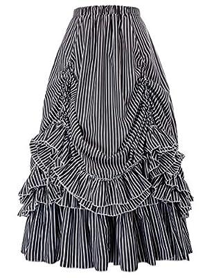Victorian Steampunk Gothic Theater Bustle Long Skirt (Black White 2,XL)
