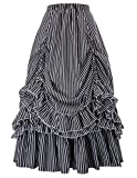 Belle Poque Plus Size Gothic Victorian Skirt Dresses for Women (Black White 2,3XL)
