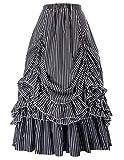 Belle Poque Plus Size Gothic Victorian Skirt Dresses for Women (Black-Grey White,3XL)