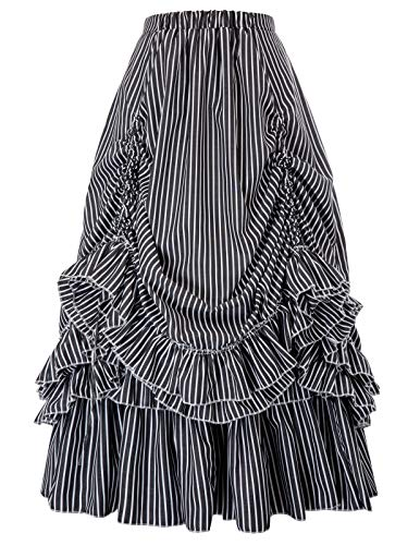 Belle Poque Victorian Renaissance Skirt Pirate Costume for Party L