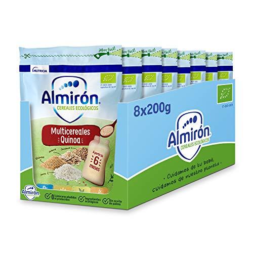 Almirón Cereales Infantiles Ecológicos Multicereales con Quinoa, 200g, 8 Unidades (1.6kg)