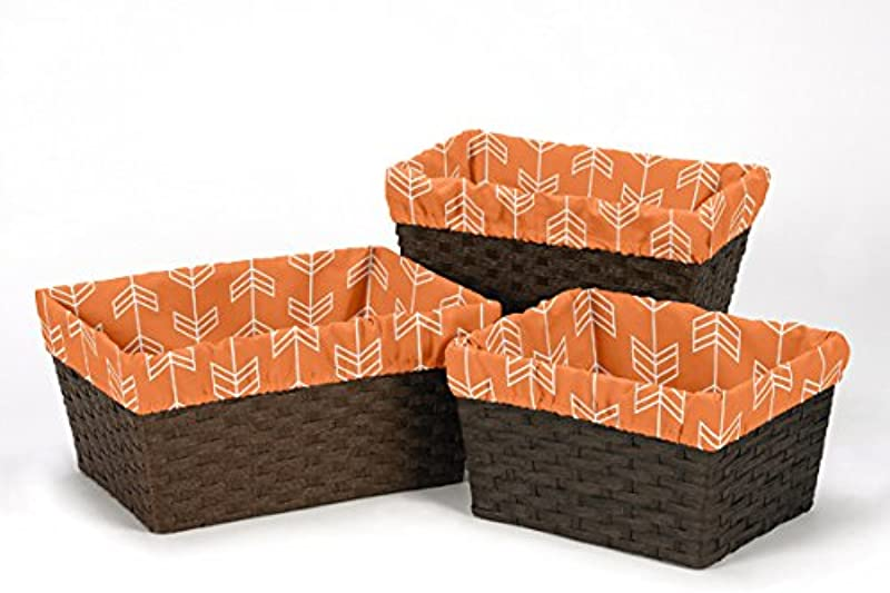 Sweet Jojo Designs 3 Piece Fits Most Basket Liners For Orange And Navy Arrow Bedding Sets