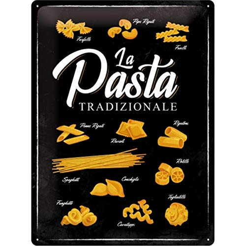 Nostalgic-Art Targa Vintage Home & Country – Pasta Tradizionale – Idea Regalo per la Cucina, in Metallo, Design Retro per Decorazione, 30 x 40 cm
