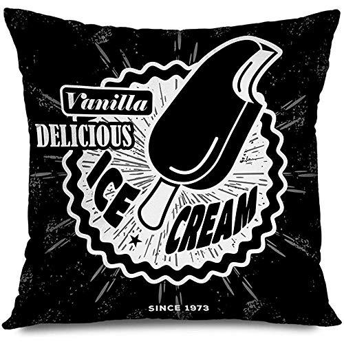 Funda de almohada de tiro 45X45Cm Marrón caramelo Esquimal Pastel Etiqueta de helado Insignia Finanzas Comida Bebida Chocolate Frío Delicioso Postre Decoración Funda de almohada Decoración para el hogar Funda de cojín