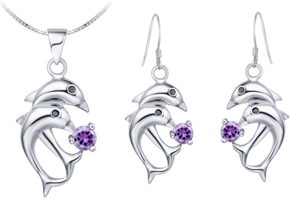 Urns Ashes Funeral Women Jewelry Set White Gold Plated Necklace Earrings Set Marine Life Modeling Dolphin Shape Design with Zirconia Box Chain 45CM Pet Memorial Dog cat Urn