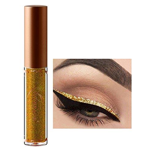 Pigmentierte Diamant Glitzer Flüssig Lidschatten Eyeliner Schminke für Augen Gold,ROMANTIC BEAR