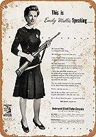 金属サイン1944女性戦争労働者のレトロな装飾ティンサインバー、カフェ、アート、家の壁の装飾