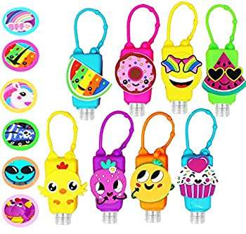 KINIA 8 Pack Empty Mixed Kids Hand Sanitizer Travel Size Holder Keychain Carrier 8 -1 fl Oz Flip Cap Reusable Empty Portable Bottles   8-Variety Pack MIXED