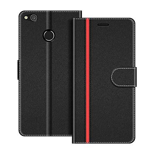 COODIO Handyhülle für Huawei P8 Lite 2017 Handy Hülle, Huawei P8 Lite 2017 Hülle Leder Handytasche für Huawei P8 Lite 2017 Klapphülle Tasche, Schwarz/Rot