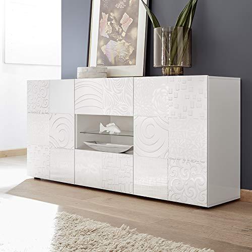Dressoir wit gelakt 180 cm ELMA design met LED-verlichting M-012