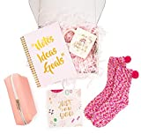Inyma Gift Box for Women - Birthday Gifts for Friends Female - Happy Birthday Box - Cheer Up Gifts for Her, Mom, Coworker, Sister - Coffee Mug, Cupcake Socks, Notebook Planner, Cosmetic Bag (Pink)