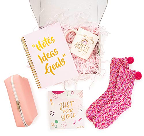 Inyma Birthday Gift Box for Women - Gifts for Friends Female - Best Gifts for Her - Deluxe Package of Coffee Mug, Cupcake Socks, Notebook Planner, Cosmetic Bag (Pink)