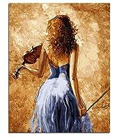 ブラシで描くDIY油絵ペイント、大人のための番号キットによるペイント装飾青いドレスバイオリンプレーヤー40X50Cm