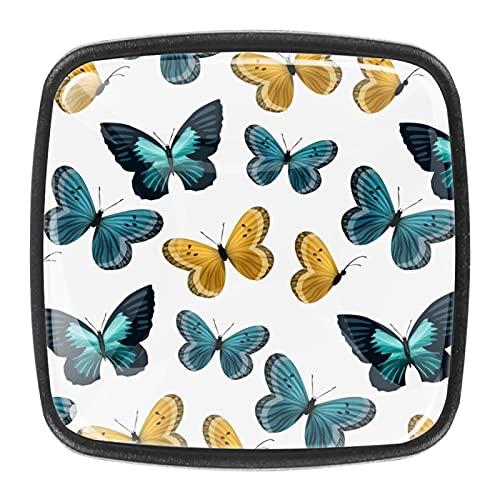 Juego de 4 tiradores de cajón y pomos para cajones con tornillos de cristal para cajón, gabinete, tirador de armario, herrajes de mariposas, color azul, marrón, 35 mm