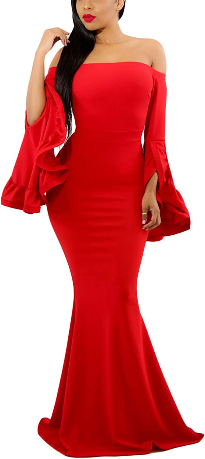 AlvaQ Women Off Shoulder Bell Sleeves Party Evening Gown Mermaid Maxi Dress