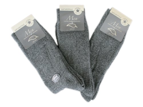 6 Paar Herren Thermo Socken Ohne Gummi (7505), Grau, 39/42
