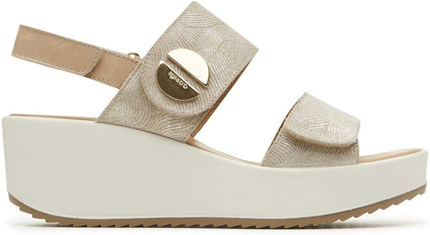 IGI&CO 3173399 Women's Wedge Sandal in Platinum Printed Laminated Leather Made in