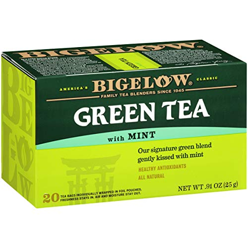 Bigelow Green Tea with Mint Tea Bags, 20 Count Box (Pack of 6) Caffeinated Green Tea, 120 Tea Bags Total