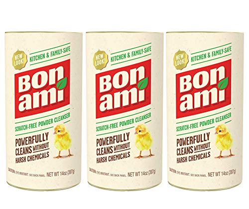 Bon Ami Powder Cleanser for Kitchens & Bathrooms - All Types of Surfaces, Cleans Grime & Dirt,...