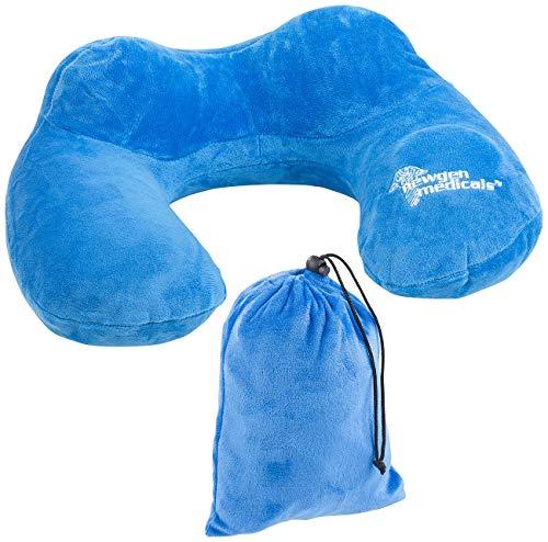 newgen medicals Aufblasbare Nackenkissen: Aufblasbares Reise-Nackenhörnchen mit integrierter Luftpumpe, Tasche (Nackenkissen mit Handluftpumpe)