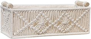 shiftX4 Boîtes de rangement, panier rectangulaire en corde de coton tissé pour macramé, articles divers, accessoires de ph...