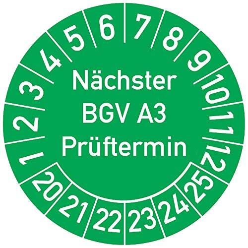 Nächster BGV A3 Prüftermin Prüfplakette, 250 Stück, in verschiedenen Farben und Größen, Prüfetikett Prüfsiegel Plakette (25 mm Ø, Grün)