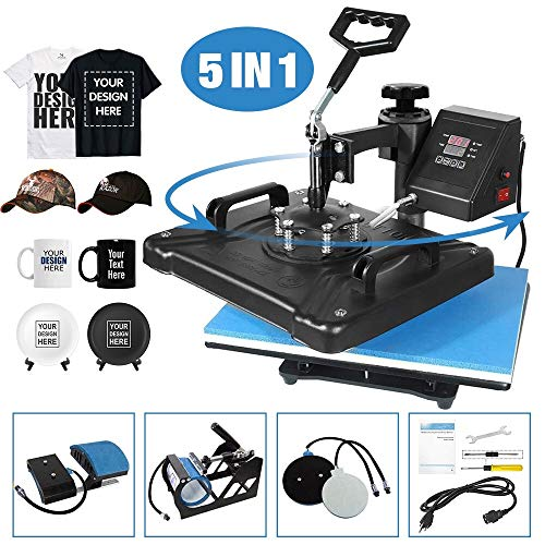 Aonesy Pro 5 in 1 Combo Heat Press Machine for T-Shirt Hat Cap Mug Plate, Multifunctional Swing Away 360-degree Rotation Digital Heat Transfer Sublimation Machine, 12 x 15 Inch