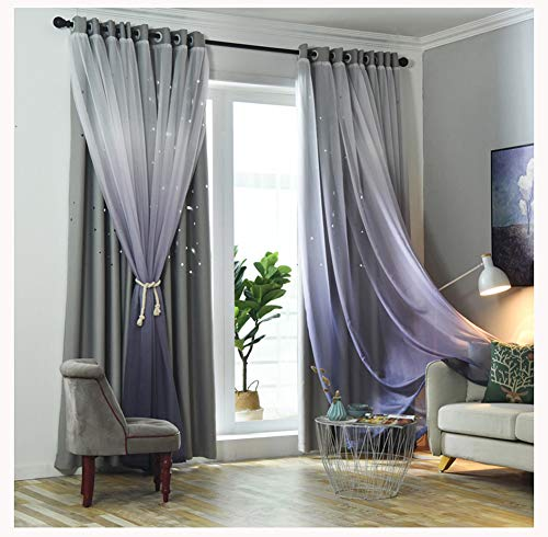 Double-Layer Curtains-Shade Cut Out Stars Panel and Gauze Valance,Eyelet curtains gradient Curtains Blackout Voile Double Layer Curtains Window,Bedroom Living Room/Hotel/Insulation curtains,1pcs