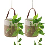 MorNon Wall Hanging Cotton Storage Baskets Woven Cotton Rope Hanging Storage Baskets, Foldable Small Storage Organizer with Handle for Keys, Wallet, Plants, Towels, Toys(Set of 2)(A)