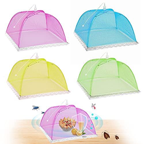 Sporgo Fliegenhaube, 4er Set Mesh-Screen Essen Cover Zelte, Faltbare Kuchenabdeckung Fliegenschirm Lebensmittel, für Essen Lebensmittel Grill Partys Buffets Camping Picknicks