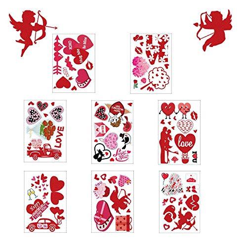 jieGorge Adhesivo de Pared, Día de San Valentín Calcomanías estáticas Calcomanías de Vidrio para Ventanas Calcomanías para Nevera, para el Día de San Valentín (Multicolor)