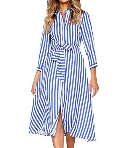 Andopa Damen riemchen lang-hülse premium-classy mid lange cocktailkleid S Blau