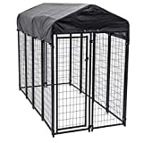 Lucky Dog 60548 8ft x 4ft x 6ft Uptown Welded Wire Outdoor Dog Kennel Playpen Crate with Heavy Duty UV-Resistant Waterproof Cover, Black