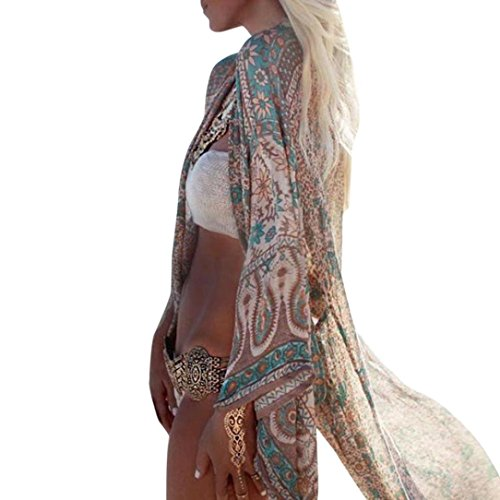 Damen Blumendruck Chiffon Kimono Cardigan Top Lose Schal Bikini Cover Up Strandponcho Vintage Vertuschen Bluse Elegant (M, Grün)